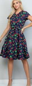LA Soul all over cherry & leaves print dress